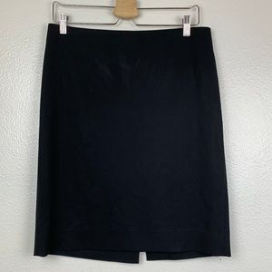 Theory Black Virgin Wool Blend A-Line Skirt